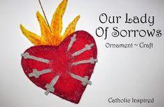 Our Lady of Sorrows Craft {Liturgical Ornament} - Catholic Inspired Catholic Crafts, Catholic Kids, Church Crafts, Kindergarten Crafts, Preschool Crafts, Ornament Crafts, Felt Ornaments, Lamb Craft, Art For Kids