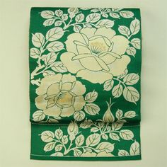 Green, rose pattern, zentsu hassun hiraobi / 緑地 バラの花柄 全通八寸平帯