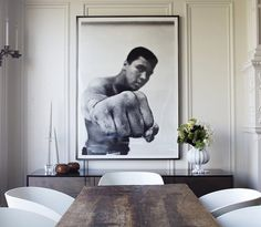 Muhammad Ali, pictured in 1966 oversized poster