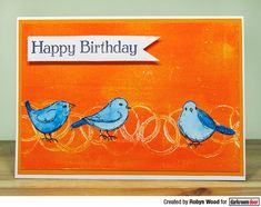 Card by Robyn Wood using Darkroom Door Garden Birds Stamp Set and Abstract 02 Stamp Leaf Stencil, White Paint Pen, Large Stencils, Birthday Sentiments, Flower Stamp, Some Cards, Painted Doors, Watercolor Cards, Art Journal Pages