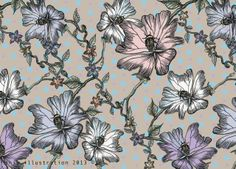 flowers and bees, surface pattern design.