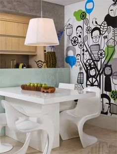Móveis Resinados: MR - Mesa de jantar em resina branca
