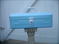 vintage tiffany blue metal tool box, etsy