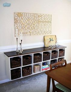 Wall Cabinet - 33 Ikea Hacks #Anyone Can do: This is a great idea! This involves fixing a storage cube unit to the wall and giving it a fancy top surface.