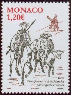 "Stamp: Don Quixote and Sancho Panza (Monaco) (400 years Novel ""Don Quixote "") Mi:MC 2731,Sn:MC 2361,Yt:MC 2474"