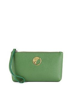 Versace Collection Top Zipper Leather Pouch - Green - Size No Size