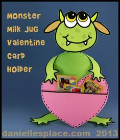"These ""Little Monster Card Holders"" are a fun Valentine's project for students to make using recycled plastic milk jugs. Holiday Crafts For Kids, Craft Projects For Kids, Craft Kids, Kids Fun, Kid Crafts, Creative Crafts, Kinder Valentines, Valentine Box, Valentine Ideas"