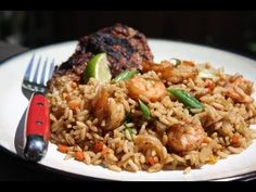 A quick and tasty shrimp fried rice as it's done in Trinidad and Tobago.