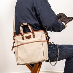 Canvas Leather Mens Side Bag Army Green 12'' Tote Postman Bag Messenger Bag for Men Cool Messenger Bags, Canvas Messenger Bag, Postman Bag, Ipad Bag, Leather Handbags, Leather Totes, Cycling Bag, Designer Shoulder Bags, Side Bags