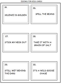 Have a frog in your throat? Kids don't know idioms! Ready to print worksheets included. Have your kids draw pictures of the literal meanings. FUN! The cards in this packet can be laminated for future use. $$