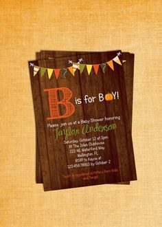 Rustic Wood Fall Baby Boy Shower Invitation Pumpkin B is for Boy Printable Custom Invite on Etsy, $18.00