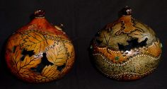 Small gourds decorated with leaves. Negative space cut out and embellished with copper and beads
