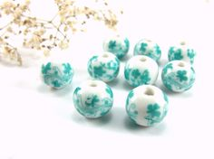 Turquoise Ceramic Beads 12mm Handmade Ceramic Floral by Cchange
