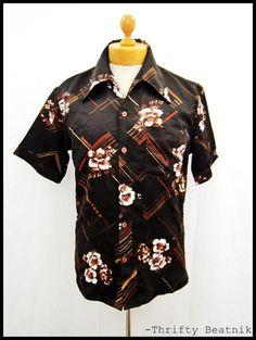 Vintage 1970s 70s Disco Indie Pattern Shirt Medium   eBay