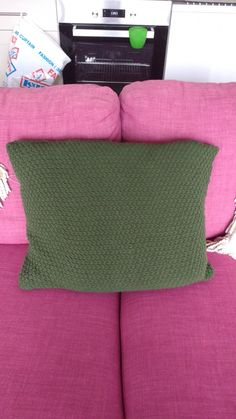 My first knitted cushion cover, double moss stitch.