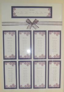 A2 Lilac Wedding Table Plan