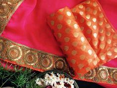 #AARAA #pinkorangecombo #hotpink #saree #chiffon #brocadeblouse #orangebrocade