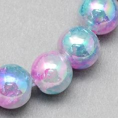 20 Light Blue and Pink Glass Beads Aurora Borealis Coating Bubble Bead 8mm  3784 by OverstockBeadSupply on Etsy