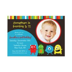 Monsters Birthday Party Invitaitons with Photo Custom Announcement from http://www.zazzle.com/monster+birthday+invitations