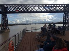 Jenn and Jim keep a close eye on the approaching bridge. Cruising on the Viking Forseti up the Gironde Estuary and the Dordogne River from Blaye to Libourne.
