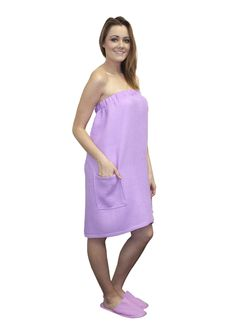 a1369777e3 Purple Terry Bath Wrap Towels with Pocket. Looks very fashion with our  Purple Spa Slippers