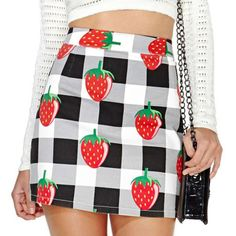 Strawberry and Checked Print High Waist Slimming
