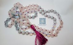 The Mother Goddess Mala - Rose Quartz, Amazonite, Aquamarine and Opal for loving kindness, strong communication and a beautiful bond. 108 stones and hand knots on satin cord.