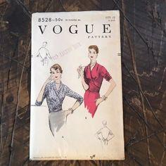 Vogue 8528 Wrap Blouse 1955 c/c sld Bolero Top, Sewing Blouses, Wrap Blouse, Vintage Vogue, 30th, Size 12, Pattern, Prints, Patterns