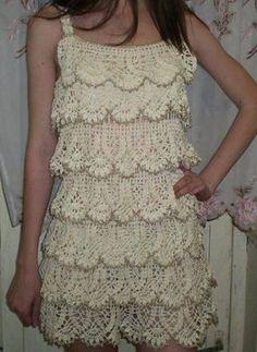 Ruffle Dress free crochet graph pattern