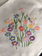 Large Square Vintage Superbly Hand Embroidered Cream Irish Linen Tablecloth VGC