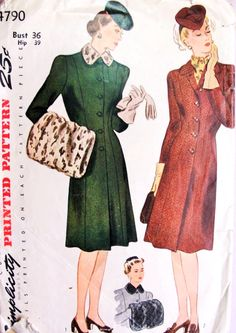 1940s Slim PRINCESS Coat and MUFF Pattern SIMPLICITY 4790 Film Noir Style Fitted Figure Flattering Coat Large Muff For Furs or Fabrics Bust 36 Vintage Sewing Pattern
