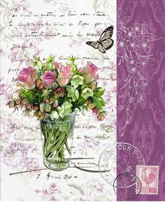 Bouquet with roses in clear vase with butterfly, stamp and postmarks on French handwriting.