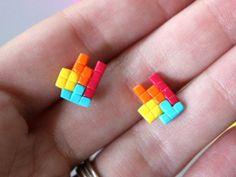 Titanium Tetris Earrings Hypoallergenic Gamer Geek Jewelry by HeyBernadette