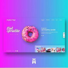 Doughnut Magic Web UI by Stephanie Post on Dribbble Website Design Inspiration, Banner Design Inspiration, Web Banner Design, Web Banners, Food Web Design, Design Blog, Page Design, Design Design, Graphic Design