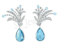 Diamond Blue Topaz Earring by sk_jewels