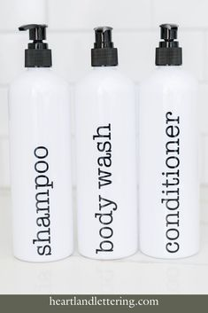 These easy to use refillable shampoo bottles will bring joy to your bathroom shower every morning. The labels are customizable and the typewriter font bring a gorgeous vintage feel to your bathroom. Refillable Shampoo Bottles - Easy bathroom organization - Custom Shampoo Bottles - Bathroom Shower Storage and Organization Body Shampoo, Shower Storage, Shampoo Bottles, Simple Bathroom, Interior Design Tips, Bottle Labels, Bathroom Organization, Typewriter, Plastic Bottles