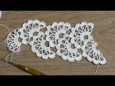 Crochet Tape Lace Tutorial 5 part 1 of 2 Crochet Motifs Crochet Doily Rug, Gilet Crochet, Crochet Leaves, Crochet Borders, Crochet Stitches, Crochet Hairband, Crochet Bracelet, Doily Patterns, Knitting Patterns