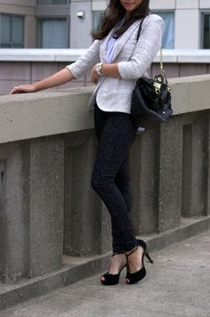 Britt+Whit: Britt mixes textures in this work chic look!