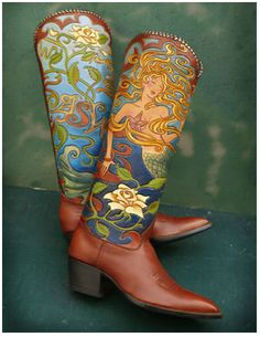 I NEED a pair of these Mermaid boots, but with a red-headed mermaid!!! www.rocketbuster.com