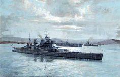 Cuadro de Arthur Burgess sobre el HMS Prince of Wales, detrás un clase Illustrious y un clase Nelson. Más en www.elgrancapitan.org/foro