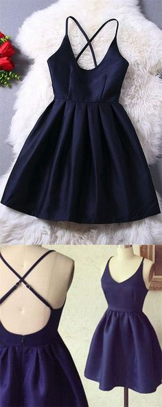 Simple Homecoming Dresses,Cute Homecoming Dresses,Homecoming Dresses For Teens,Navy Blue Homecoming Dresses,V-neck Homecoming Dresses,Cocktail Dresses,Satin Homecoming Dresses,Modest Homecoming Dresses,Party Dresses,Short Homecoming Dresses,Short Prom Dresses,Graduation Dresses
