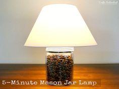 I love Mason Jars, Inexpensive and they can be really cute, 10 Mason Jars, 10 Awesome DIYS! Mason Jar Lamp