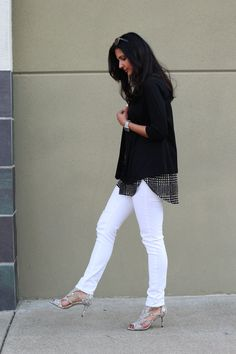 Black and White - Paige denim jeans, theory blazer, jcrew top