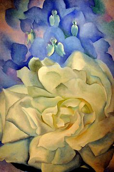 White Rose with LarkSpur, No.2 ~ by Georgia O'Keeffe, Boston Museum of Fine Art