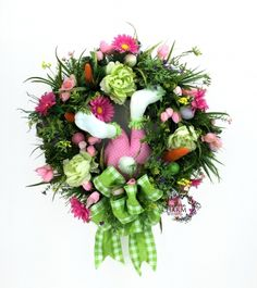 "24"" Square Easter Bunny Wreath in Pink & Green with Bunny Butt by www.southerncharmwreaths.com"