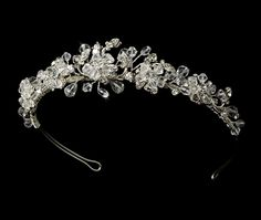 silver swarovsky wedding bridal headband tiara headpiece