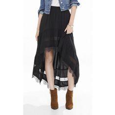 Express Black Lace Trimmed Hi-lo Hem Skirt ($60) ❤ liked on Polyvore featuring black, boho skirt, bohemian skirt, black fringe skirt, black hi low skirt and hi low skirt