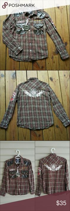 NWT S Sons of Anarchy brown plaid flannel Any Sons of Anarchy fans? I have a NEW with tags Sons of Anarchy brown plaid flannel!! Size small but fits an XS perfectly too. Lots of prints, faux leather, and patches! Super cool. New perfect condition but is missing one button hole... it's strange!! I can try to take it to my seamstress? I was going to wear it open so it didn't bother me much. Need to let it go lol my ex was nicknamed named Jax cause he looked just like him so I don't watch the…