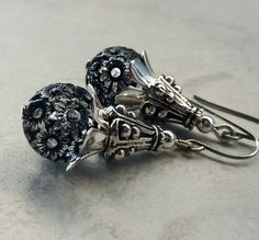 Black and Crystal Drop Earrings Silver by LunarBelle