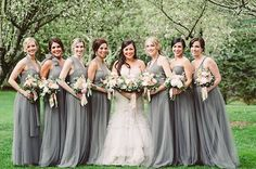 Black Tie-Meets-Rustic North Carolina Wedding at the Old Edwards Inn, Bridesmaids in Silver Gray Jenny Yoo Gowns
